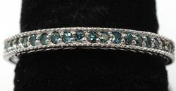 Blue Diamond Band Ring, 14KT