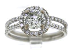 Spectacular RBC Center w Halo Diamond Bridal Set