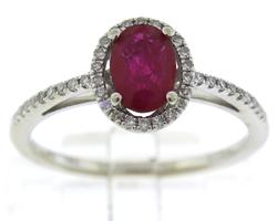 Fabulous Ruby and Diamond Halo White Gold Ring