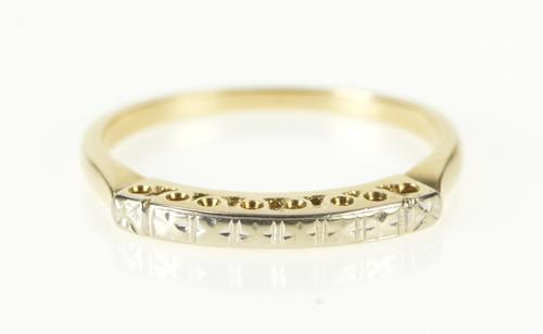 14K Yellow Gold Two Tone Retro Cherry Blossom Wedding Band Ring