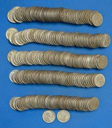 5 ROLLS 1943 STEEL CENTS P-D-S MOSTLY P MINT  XF-AU