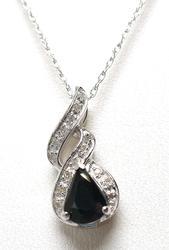 Sapphire & Diamond Pendant & Chain in Gold