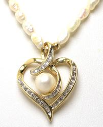Fancy Pearl & Diamond Necklace in Gold