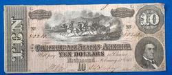 1864 CSA $10 Note, Estate Direct, Lightly Circ