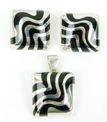Stunning Mexican Sterling Black Onyx Earrings & Pendant