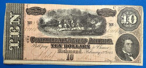 1864 CSA $10 Note, Estate Direct, Lightly Circ