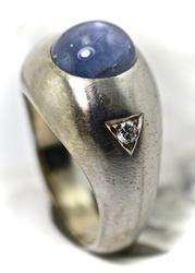 Always Popular Men's Star Sapphire and Diamond 14K Ring