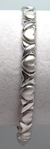 White Gold X's and Hearts Bracelet