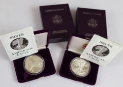 2 1987 S Proof Silver Eagles with Boxs and Papers