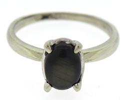Pretty White Gold Cab Black Sapphire Ring