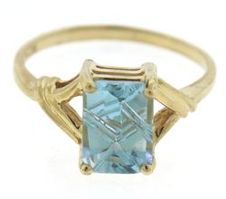 Gorgeous Blue Topaz Emerald Fancy Cut Ring
