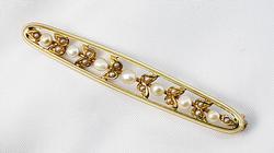 Vintage Pearl & Enamel Bar Pin