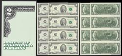 $2 Bicentennial Uncut sheet of 4 New York District