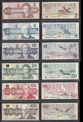 Unique Bank of Canada Specimens $2,5,10,20,50,100