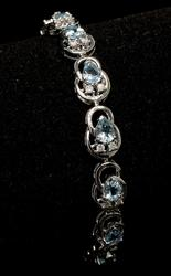 Aquamarine & Diamond Bracelet, 14KT