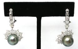 Tahitian Pearl & Diamond Earrings, 14KT