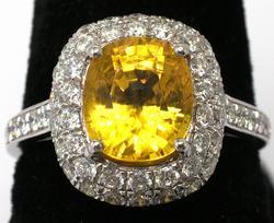 Sapphire & Diamond Ring, Platinum