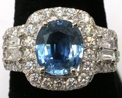 Rare Unheated Sapphire & Dia Ring