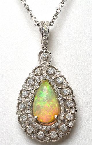 Most Beautiful Opal & Diamond Pendant, 14KT