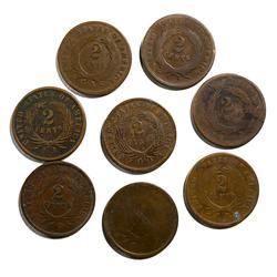 9  2 Cent Pieces