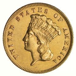 1874 Indian Princess Head Three-Dollar Gold Piece - Choice
