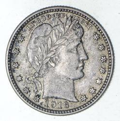 1916-D Barber Head Silver Quarter - Choice