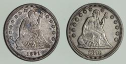 Lot (2) 1876 & 1891 Seated Liberty Quarters