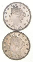 Lot (2) 1901 & 1903 Liberty V Nickels