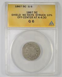 G6 1867 Shield Nickel No Rays Struck 10% Off Center At K-4:30 - ANACS