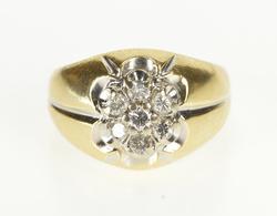 14K Yellow Gold 0.50 Ctw Round Diamond Retro Cluster Fashion Ring