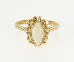 10K Yellow Gold Marquise Natural Opal Ornate Engagement Ring