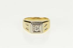 14K Yellow Gold 0.41 Ctw Squared Diamond Inset Accent Wedding Ring