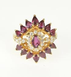 14K Yellow Gold Rhodolite Diamond Exquisite Cocktail Fashion Ring
