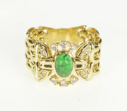 14K Yellow Gold Oval Emerald Cabochon Diamond Ornate Chain Ring