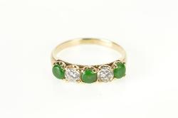 14K Yellow Gold Emerald Diamond Victorian Wedding Band Ring