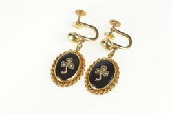 10K Yellow Gold Victorian Onyx Seed Pearl Clover Screw Back Earrings