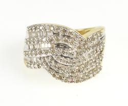 14K Yellow Gold Wavy Curvy Diamond Encrusted Statement Ring