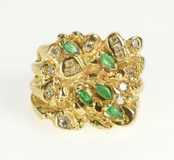 14K Yellow Gold Marquise Emerald Diamond Squared Cluster Ring