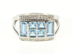 10K White Gold Princess Emerald Cut Blue Topaz Diamond Accent Ring