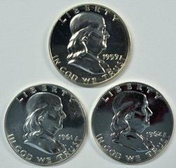 1959, 1961, & 1962 Gem Proof Franklin Half Dollars