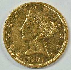 Near Mint 1905-S US $5 Liberty Gold Piece. Scarcer