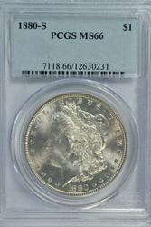 Semi-reflective NGC MS66 graded 1880-S Morgan Dollar