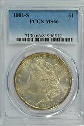 Spectacular 1881-S Morgan Silver Dollar. PCGS MS66
