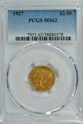 Very Choice BU 1927 US $2.50 Indian Gold. PCGS MS62