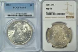 Near Gem BU 1885-P & 85-O Morgan Dollars. PCGS & NGC 64