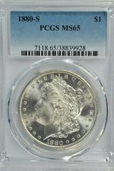 Superb Gem BU 1880-S Morgan Silver Dollar. PCGS MS65