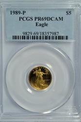 Scarcer 1989-P $5 Proof Gold Eagle. PCGS PR69DCAM
