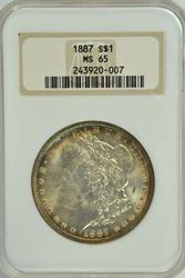 Solid Gem BU 1887 Morgan Silver Dollar. Old NGC MS65