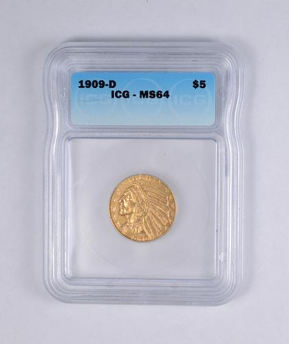 jjxx.com_MS64 1909-D $5.00 Indian Head Gold Half Eagle - JJXX - Graded ICG | usauctiononline.com