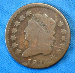 1814 CLASSIC HEAD LARGE CENT   CIRCULATED